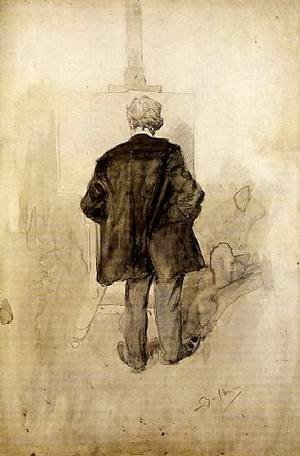 A Standing Man, Seen from Behind, Looking at a Painting on an Easel