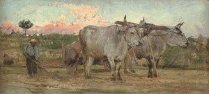 Giovanni Boldini - Oxen in the Tuscan countrside