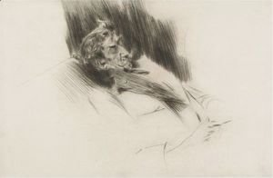Giovanni Boldini - Portrait Of Whistler Asleep