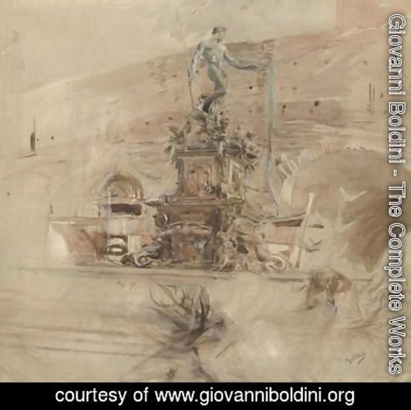 Giovanni Boldini - The Fountain Of Neptune In Bologna