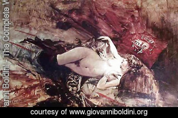 Giovanni Boldini - Naked Young Lady with Blanket