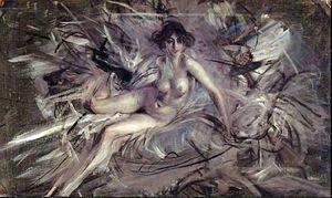 Giovanni Boldini - Nude of Young Lady on Couch