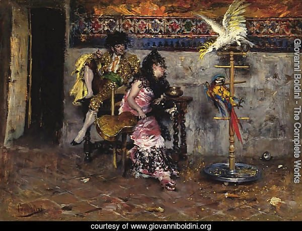 Couple in Spanish dress with two parrots (El Matador)