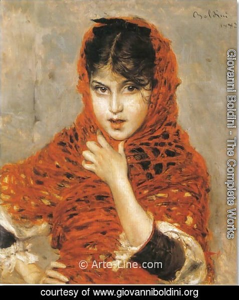 Giovanni Boldini - Girl with Red Shawl