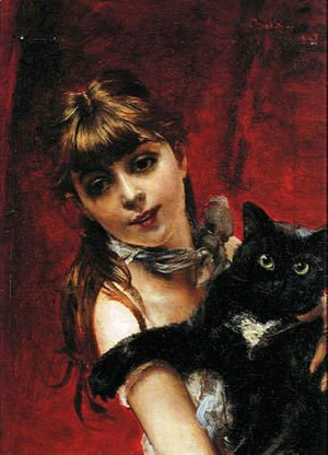Giovanni Boldini - Girl with Black Cat