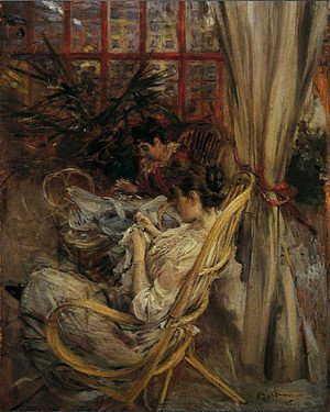 Giovanni Boldini - Two women are sewing