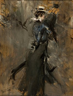 Giovanni Boldini - Lady Wearing a Straw Bonnet (Morning Promenade)