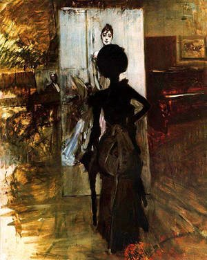 Giovanni Boldini - Woman in Black who Watches the Pastel of Signora Emiliana Concha de Ossa