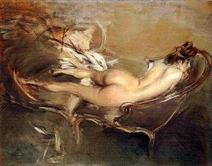Giovanni Boldini - A Reclining Nude on a Day-Bed