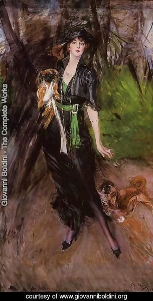 Giovanni Boldini - Portrait Of A Lady  Lina Bilitis  With Two Pekinese