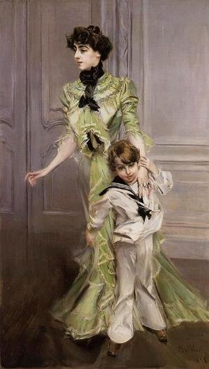Giovanni Boldini - Portrait Of Madame Georges Hugo (nee Pauleen Menard Dozian) And Her Son  Jean