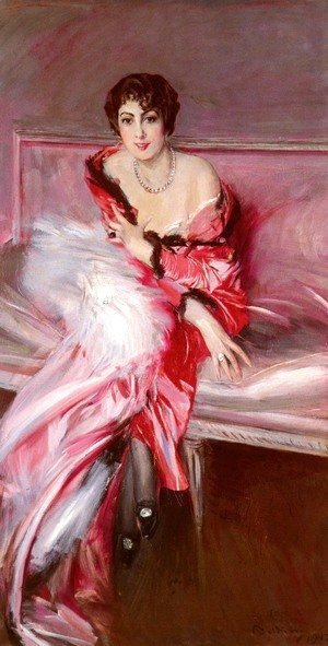 Giovanni Boldini - Portrait Of Madame Juillard In Red