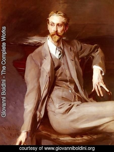 Giovanni Boldini - Portrait Of The Artist Lawrence Alexander (Peter) Harrison 1902