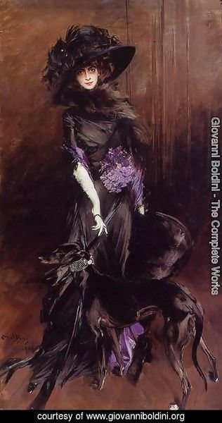 Giovanni Boldini - Portrait Of The Marchesa Luisa Casati  With A Greyhound
